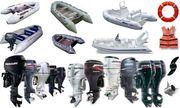 Лодки надувные гребные,  моторные. Подвесные лодочные моторы