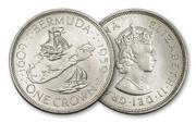 Продам монету Bermuda 1959 1 Crown Silver BU
