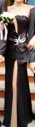 шикарное вечернее черное,  платье с брошью сваровски, открыта спина