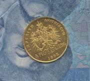 Золотая монета Австрия 1892г 4 флорина / 10 франков