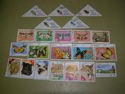 Продам марки о бабочках,  хищных кошках и насекомых. Куба, Монголия