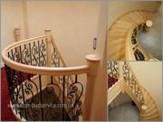 Деревянные изогнутые поручни,  радиусные ограждения,  столбы для лестниц