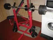 Тренажер со штангой,  обрезиненными блинами,  скамьей,  верхней тягой