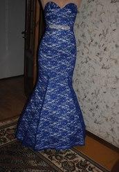 Выпускное,  вечернее,  кружевное платье в пол синего цвета,  фасона рыбка