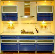Кухня синий пластик постформинг (продажа выставочного образца)