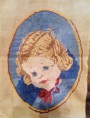 Ребёнок Старинная вышитая картина крестиком