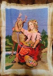 Картина вышита крестиком, Девушка с оленем