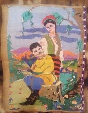 Картина Пара, Вышивка крестиком на мешке