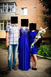 Корсетное платье цвета электрик в пол