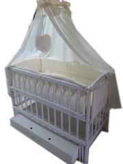 Акция! Комплект: кроватка маятник,  матрас кокос,  постельное с защитой