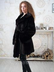 Женская нокровая шуба под пояс по колено 48 50 размеры