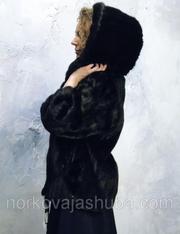 Женская стильная норковая шуба полушубок с капюшоном 46 48 скидки