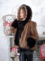 Женский полушубок норковый с капюшоном 46 48 размер