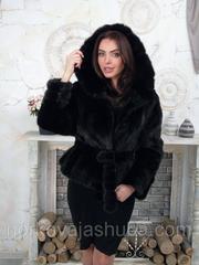 Женская норковая шуба с капюшоном размер 44 46 48