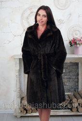 Женская шуба из меха норки под пояс 46 48 размері