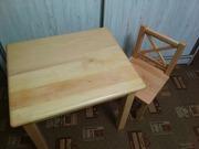 Натуральное дерево ,   детский стул и стол